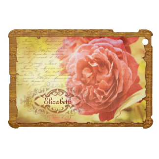 Vintage Coral Pink Rose Handwritting Ornate Frame Case For The iPad Mini