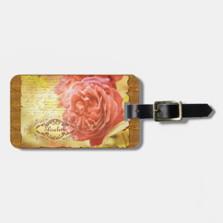 Vintage Coral Pink Rose Handwritting Ornate Frame Tags For Luggage