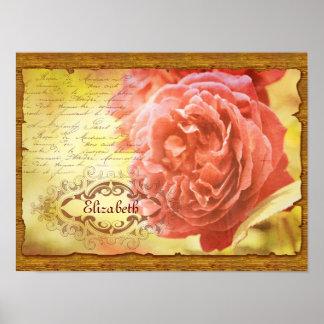 Vintage Coral Pink Rose Handwritting Ornate Frame Poster
