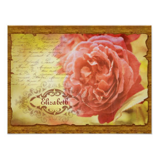 Vintage Coral Pink Rose Handwritting Ornate Frame Print