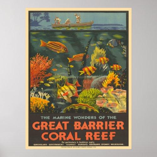 Vintage Coral Reef Travel Advertising  Poster