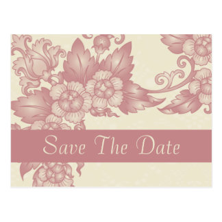 Vintage Coral Rose Ivory Save The Date Postcards