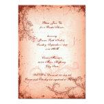 Vintage coral scroll leaf bridal shower 5x7 paper invitation card