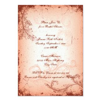 Vintage coral scroll leaf bridal shower invitations