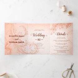 Vintage coral scroll leaf flourish wedding Tri-Fold invitation