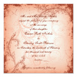 "Vintage coral scroll leaf invitation 5.25"" square invitation card"