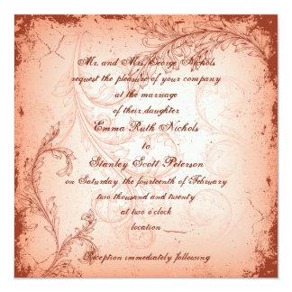 Vintage coral scroll leaf invitation