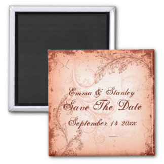Vintage coral scroll leaf Save the Date 2 Inch Square Magnet