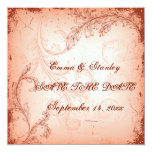 Vintage coral scroll leaf Save the Date 5.25x5.25 Square Paper Invitation Card