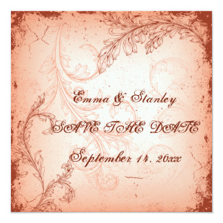 Vintage coral scroll leaf Save the Date Invitations