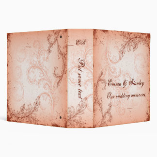 Vintage coral scroll leaf wedding binder vinyl binder