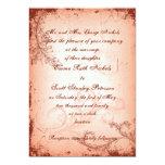 "Vintage coral scroll leaf wedding invite 5"" x 7"" invitation card"