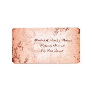 Vintage coral scroll leaf wedding label