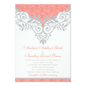 Vintage Coral Silver Grey Lace Wedding Invitation 5