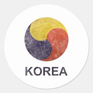 Vintage Corea Pegatina Redonda