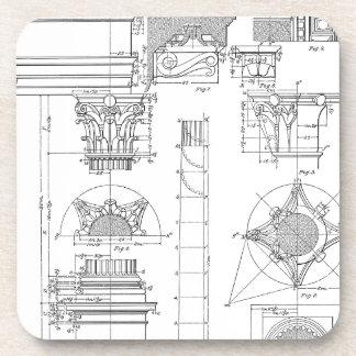 Vintage corinthian architecture coaster