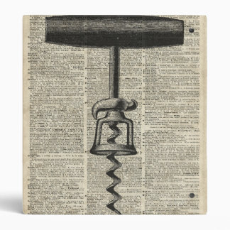 Vintage Corkscrew Stencil On Old Dictionary Page Binder