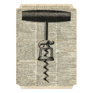Vintage Corkscrew Stencil On Old Dictionary Page Card