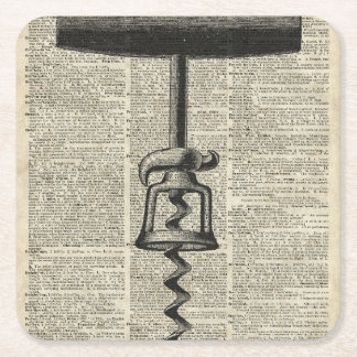 Vintage Corkscrew Stencil On Old Dictionary Page Square Paper Coaster