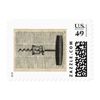 Vintage Corkscrew Stencil On Old Dictionary Page Stamp