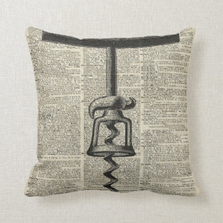 Vintage Corkscrew Stencil On Old Dictionary Page Throw Pillow