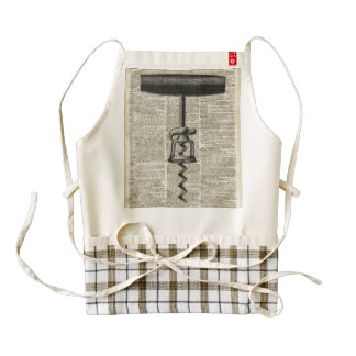 Vintage Corkscrew Stencil On Old Dictionary Page Zazzle HEART Apron
