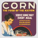 Vintage Corn Poster Square Stickers