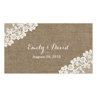 Vintage Corner Lace Burlap Wedding Website Insert Business Card