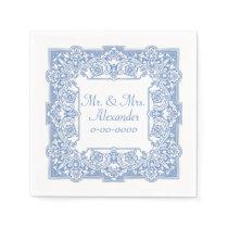 Vintage Cornflower Blue Pattern Personalize Paper Napkin