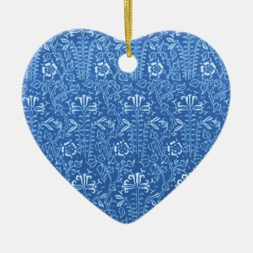 Vintage Cornflower Floral Blue Heart Ornament