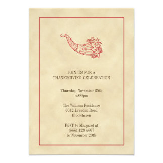 Vintage cornucopia fruits red frame Thanksgiving Personalized Invitations