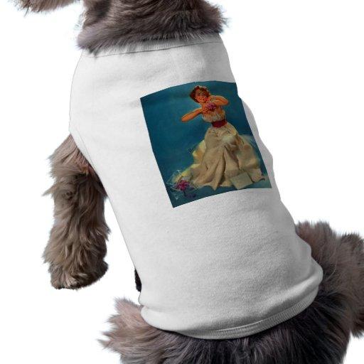 Vintage Corsage Prom Gil Elvgren Pinup Girl Dog Tee Shirt