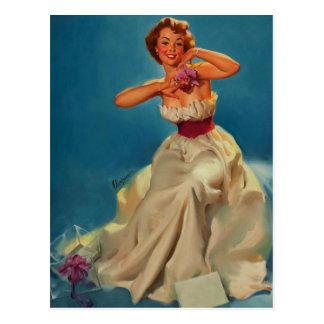 Vintage Corsage Prom Gil Elvgren Pinup Girl Postcard