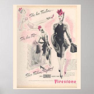 Vintage Corset Advertisement, Firestone Poster