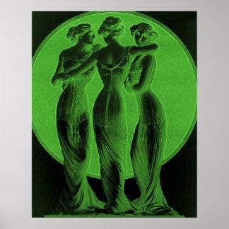 Vintage Corset Advertisement, Three graces, green Poster