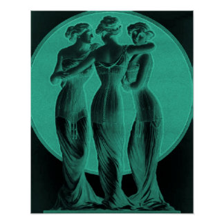 Vintage Corset Advertisement, Three graces,jade Poster