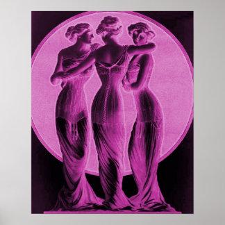 Vintage Corset Advertisement, Three graces, pink Poster