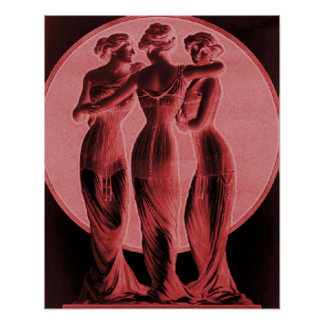 Vintage Corset Advertisement, Three graces,red Poster