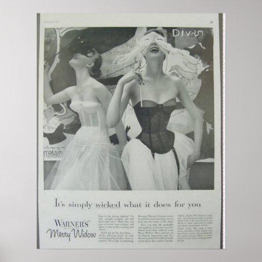 Vintage Corset Advertisement,Warners Merry Widow Posters