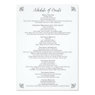 Vintage Corset Bachelorette Schedule of Events Card