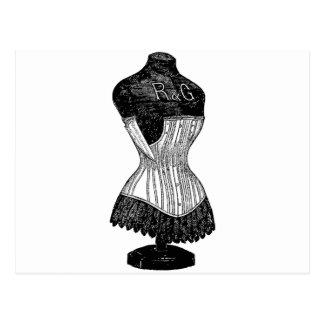 Vintage Corset dress form Postcard