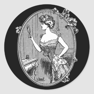 Vintage Corset Lady Classic Round Sticker