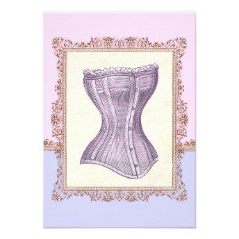 Vintage Corset Lingerie Victorian Bridal Shower Custom Announcement