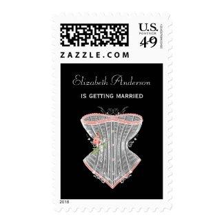 Vintage Corset Personal Lingerie Bridal Shower Postage Stamps