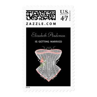 Vintage Corset Personal Lingerie Bridal Shower Stamp