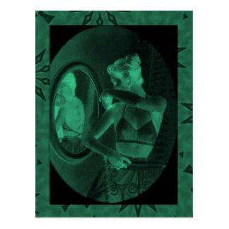 Vintage corsets,Looking in the mirror, jade Postcard