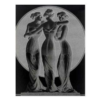 Vintage corsets Three graces Black Post Card