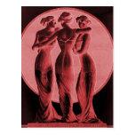 Vintage corsets Three graces crimson Postcards