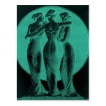 Vintage corsets Three graces jade Postcard
