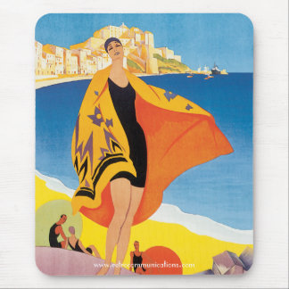 Vintage Corsican Beach travel Poster Mouse Pad